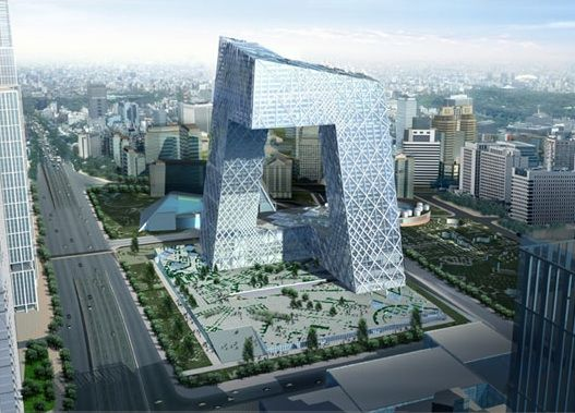 Computer generated image of the CCTV building. OMA/Ole Scheeren and Rem Koolhaas.