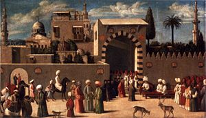 Anonymous Venetian orientalist painting, 'The Reception of the Ambassadors in Damascus'